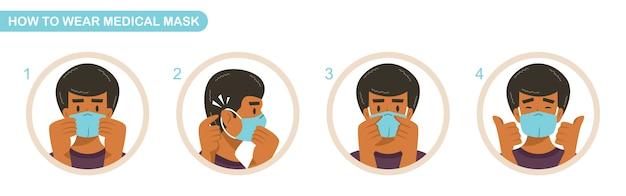 医療用マスクの着用方法説明書。 covid-19パンデミックとサージカルマスク。男は感染症に対する防護マスクを着用します。