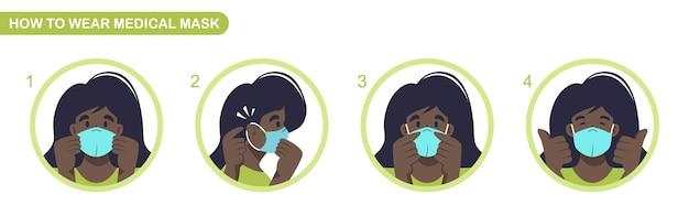 医療用マスク説明書の着用方法。 covid-19パンデミックとサージカルマスク。女性は感染症に対する防護マスクを着用します。スケーラブルで編集可能なイラスト。