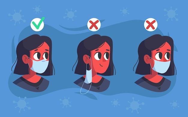 마스크 착용 방법 (옳고 그름)