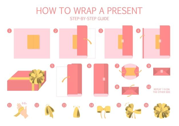 現在の段階的な指示をラップする方法。ギフトボックス包装ガイド。美しいクリスマスの弓作り。クリスマスプレゼントの手作りの赤いパッケージ装飾。分離フラットベクトルイラスト