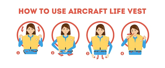 How to use airplane life jacket instruction. demonstration