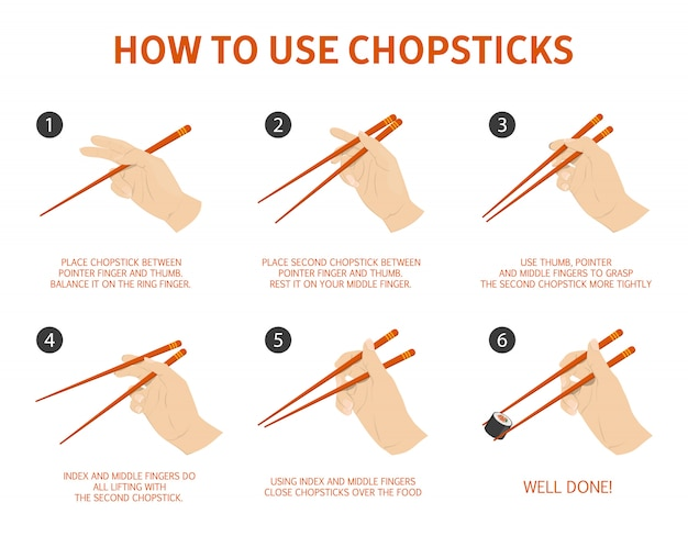 How to use chinese or japanese chopsticks instruction.