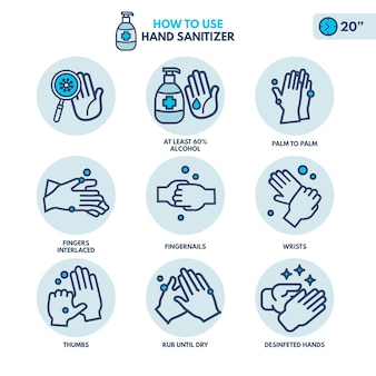 How to use hand saniter infographics