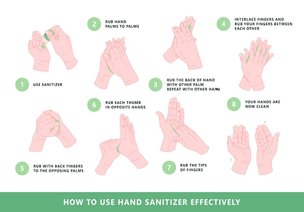 How to use hand sanitizer illustration.