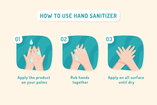 How to use hand sanitizer infographics