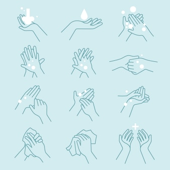 How to wash your hands icon set