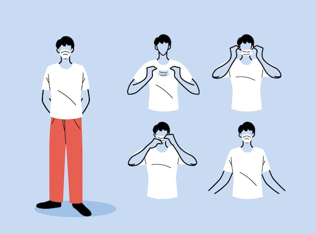 How to wear a mask correct, men presenting the correct method of wearing a medical mask