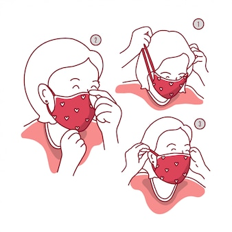 How to wear a mask illustration