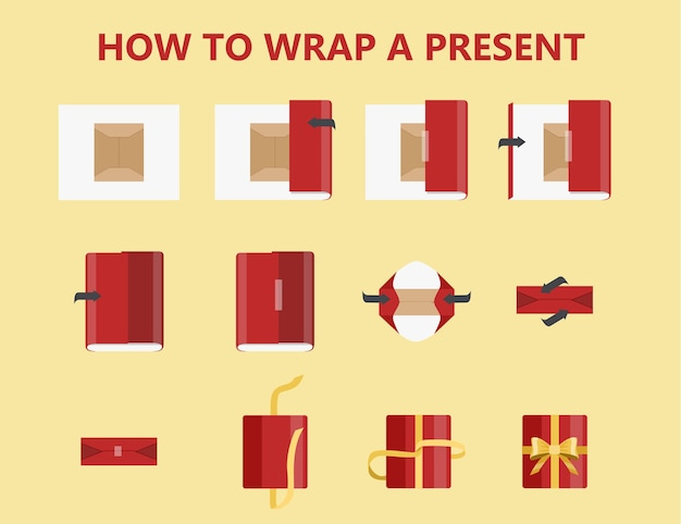 How to wrap a present step-by-step instruction. gift box packaging guide. beautiful xmas bow making. handmade red package decoration for christmas present. isolated flat vector illustration