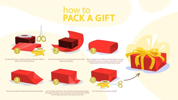 How to wrap a present step-by-step instruction