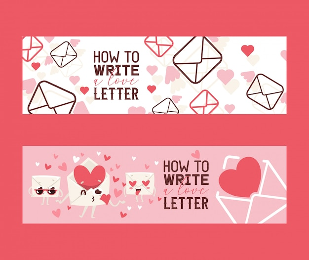 How to write love letter set of banners. envelopes with hards sending kisses. face in love with hearts instead of eyes.