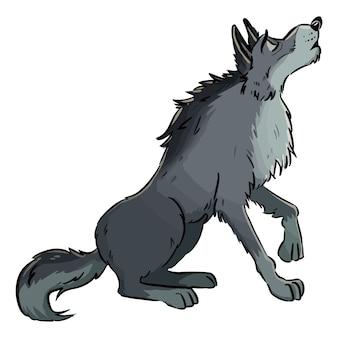 月にhowえるオオカミ。犬またはオオカミのラインアート漫画イラスト。