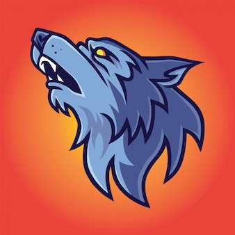 Howling wolf logo vector template