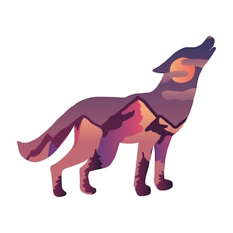 Howling wolf on moon vector illustration. wild animal silhouette with sunset scenery, mountain hills