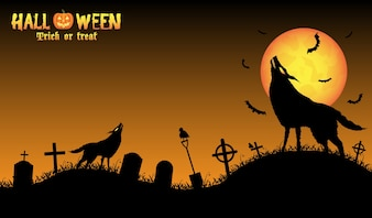 Howling wolf with halloween background