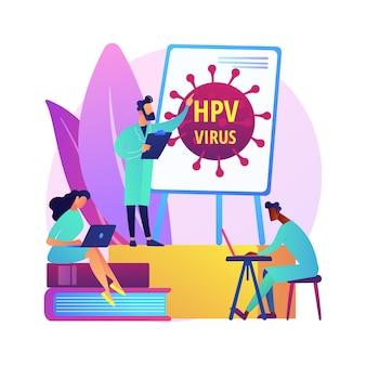 Hpv 교육 프로그램은 개념 그림을 추상화합니다. hpv 인식 프로그램, 인간 유두종 바이러스 설명, 건강 교육, 온라인 상담, 바이러스 정보 추상 은유.