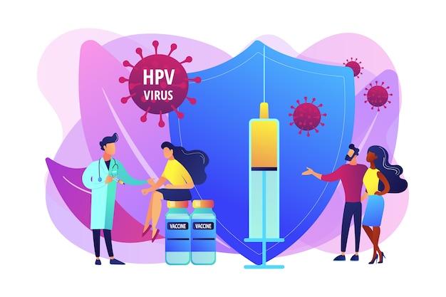 Farmaci per l'infezione da hpv. prevenzione del virus. vaccinazione hpv, protezione contro il cancro cervicale, concetto di programma di vaccinazione contro il papillomavirus umano. illustrazione isolata viola vibrante brillante