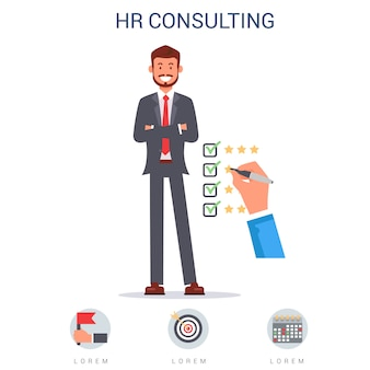 Hr consulting, hand ticking matching skills flat.