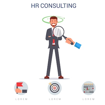 Hr consulting, hand with magnifying glass on man.