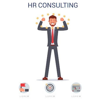 Hr consulting, smiling man in suit best candidate.