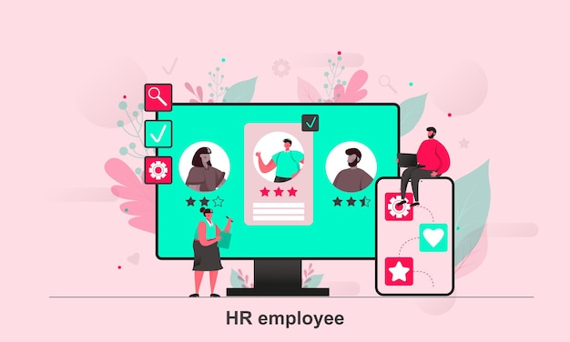 Hr employee web design in flat style with tiny people characters