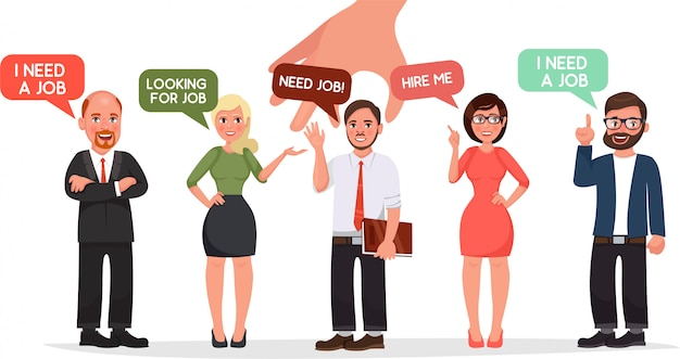 Hr hand pick businessman of group of business people candidate recruitment illustration