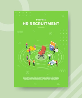 Hr human resources recruitment management concept for template banner and flyer with isometric style vector