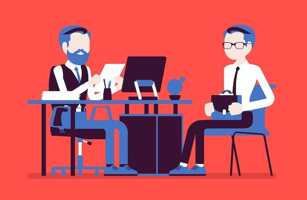 Hr 면접, 심사, 구직자와의 대화. 남자 채용 담당자는 고용된 젊은 남자와 기업 회의를 열고 직원 이력서를 읽고 질문합니다. 벡터 일러스트 레이 션, 얼굴 없는 문자