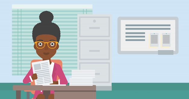 Hr manager checking files vector illustration.