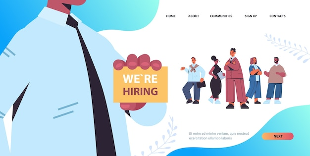 Hr manager holding we are hiring poster vacancy open recruitment concept mix race candidates standing line queue horizontal copy space vector illustration