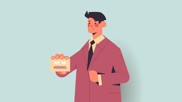 Hr manager holding we are hiring poster vacancy open recruitment human resources concept horizontal portrait vector illustration