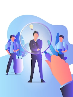 Hr manager is looking through a business man for job candidates with a magnifying glass. employees, employer, job interview, casting. the concept of head hunting.