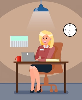 Hr manager in private office vector illustration