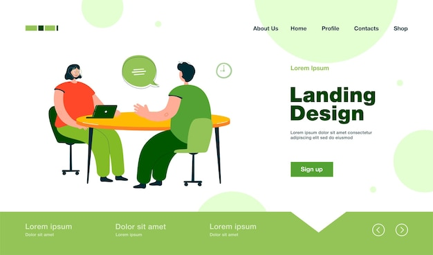 Hr manager talking with candidate at job interview landing page in flat style