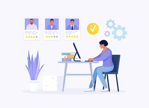 Hr manager working at desk, searching new employee, select resumes of job seekers. business woman choosing best candidate for job. recruitment. agency interview. human resource management and hiring