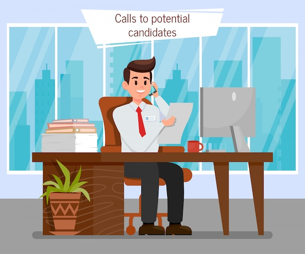 Hr manager at workplace color vector illustration