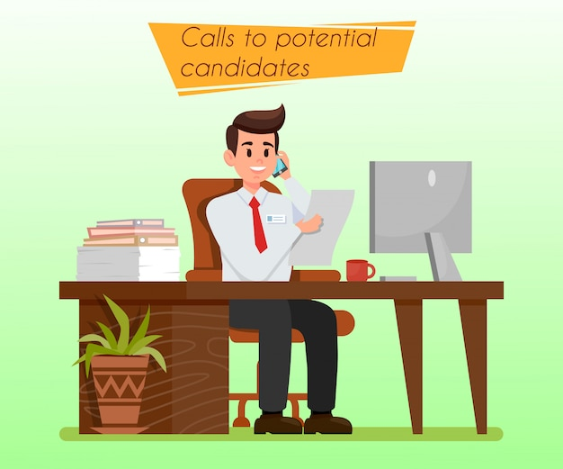 Hr manager at workplace flat illustration