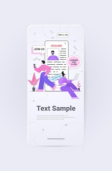 Hr managers choosing cv portfolio of job candidate resume with approved on smartphone screen vertical copy space full length vector illustration