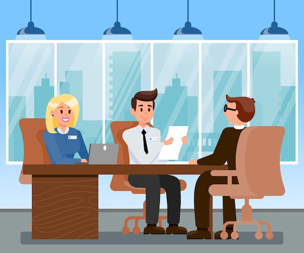 Hr managers interviewing applicant illustration
