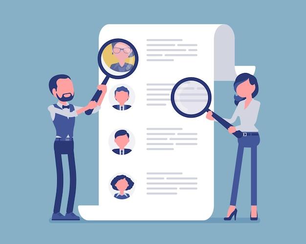 Менеджеры по персоналу ищут сотрудника. мужские и женские работники кадровой службы с увеличительным стеклом ищут резюме кандидата, кадровое агентство. векторная иллюстрация, безликие персонажи