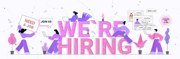 Hr managers using digital gadgets we are hiring join us vacancy open recruitment human resources unemployment