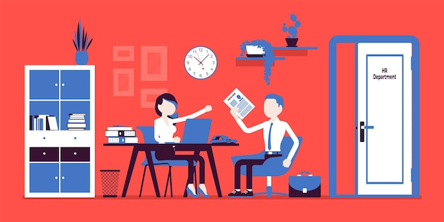 Hr office interview, talking with job applicant. woman in human resources department managing employee, meets with guy hired, administers, trains personnel. vector illustration, faceless characters