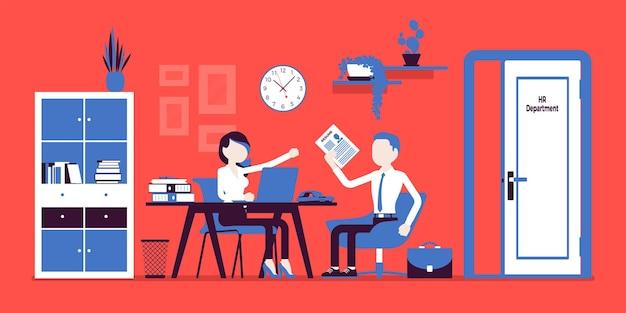 Собеседование в отделе кадров, беседа с соискателем. женщина в отделе кадров, управляющий сотрудником, встречается с нанятым парнем, управляет, обучает персонал. векторная иллюстрация, безликие персонажи
