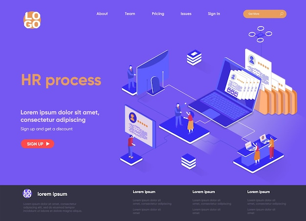 Hr process 3d isometric landing page illustration with people characters