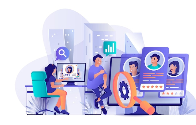 Hr process flat design concept illustration of people characters
