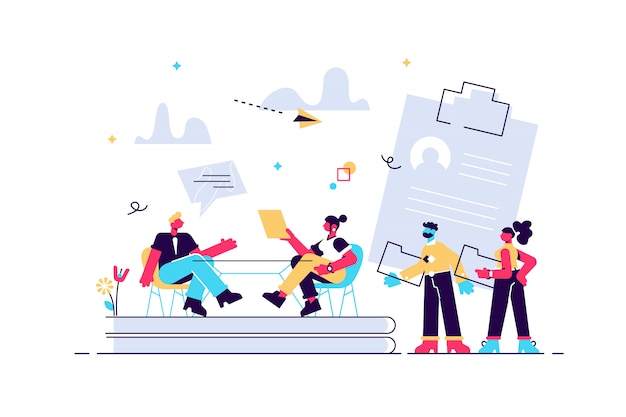 Hr specialist having an interview with job applicant and candiadates waiting. job interview, employment process, choosing a candidate concept. bright vibrant violet isolated illustration