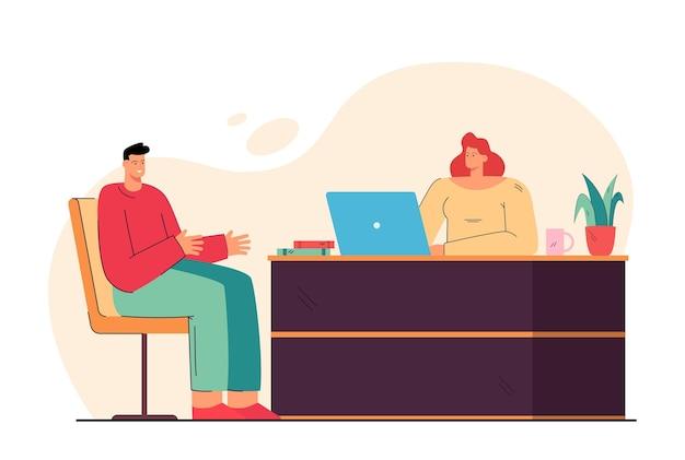Hr женщина и мужчина кандидата на работу встречаются для собеседования, разговаривают в офисе. иллюстрации шаржа