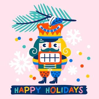 くるみ割り人形のモミの枝と紙吹雪ピンクの背景のヴィンテージのおもちゃで飾られたhristmasグリーティングカード