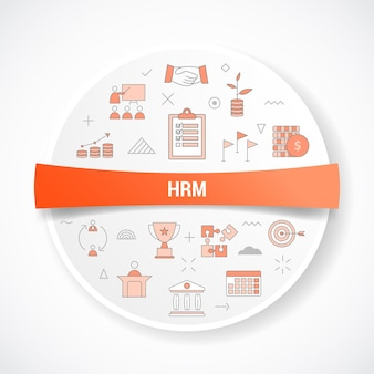 Hrm human resource management concept with icon concept with round or circle shape