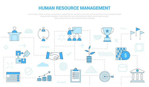 Hrm human resource management concept with icon set template banner